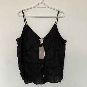 NWT H&M Linen Black Button Up Top